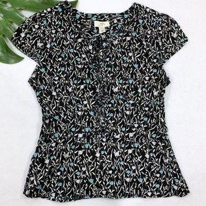 LOFT Blue & Black Floral Ruffle Shirt
